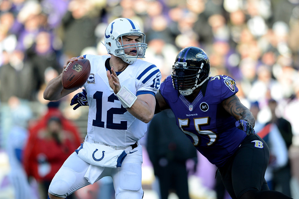 . Andrew Luck #12 of the Indianapolis Colts attempts to pass against Terrell Suggs #55 of the Baltimore Ravens during the AFC Wild Card Playoff Game at M&T Bank Stadium on January 6, 2013 in Baltimore, Maryland.  (Photo by Patrick Smith/Getty Images)