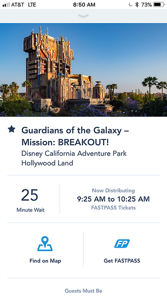 Guardians of the Galaxy FastPass Time