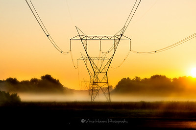 sunrise and Power Lines