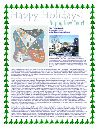 Christmas 2002 Fisher Family Newsletter