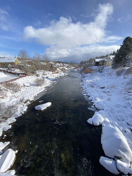 Truckee River with snow on Cabins, Truckee California