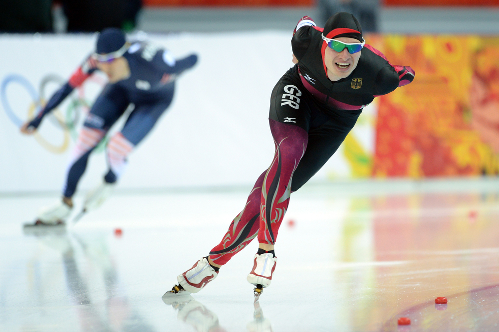 . Germany\'s Patrick Beckert competes in the Men\'s Speed Skating 5000m at the Adler Arena during the 2014 Sochi Winter Olympics on February 8, 2014.  Speed skater Sven Kramer retained his Olympic 5,000m title at the Sochi Games on Saturday, destroying the field to win by nearly five seconds as the Netherlands swept the podium.  (ANDREJ ISAKOVIC/AFP/Getty Images)