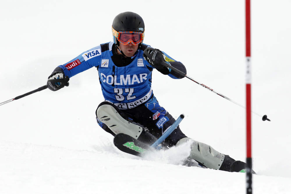 . David Chodounsky of the U.S. competes during the Audi FIS Alpine Ski World Cup Men\'s Slalom December 08, 2012 in Val d\'Isere, France. (Photo by Christophe Pallot/Agence Zoom/Getty Images)