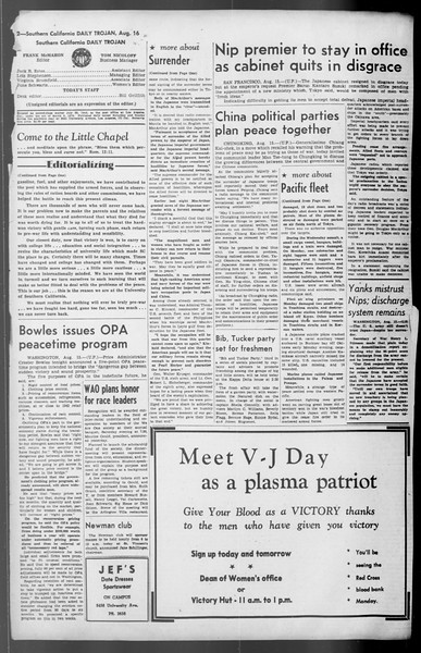 Daily Trojan, Vol. 36, No. 179, August 16, 1945
