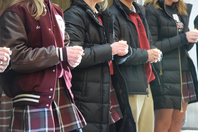 Students at Gabriel Richard Catholic High School in Riverview held a prayer service inside the school. The entire school then walked out to the football field and prayed together for the victims of the Feb. 12 shooting at Marjory Stoneman Douglas High School in Parkland, Florida, as well as all other past school shootings. Photo courtesy Anna Lisa Fedor