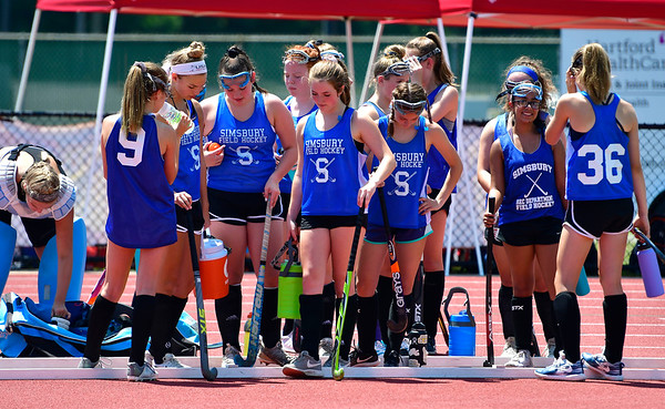 7/19/2019 Mike Orazzi | Staff Members of the Simsbury U15 Field Hockey team during the Nutmeg Games at Veterans Stadium in New Britain on Friday.
