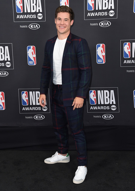 . Adam Devine poses in the press room at the NBA Awards on Monday, June 25, 2018, at the Barker Hangar in Santa Monica, Calif. (Photo by Richard Shotwell/Invision/AP)