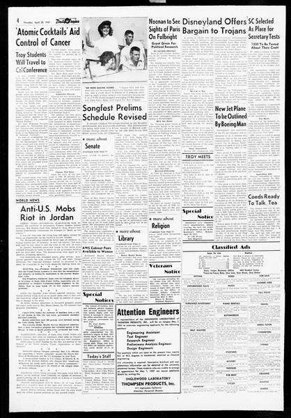 Daily Trojan, Vol. 48, No. 117, April 25, 1957