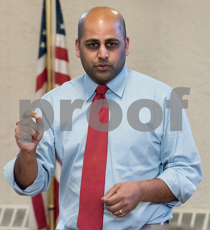 03/15/18 Wesley Bunnell | Staff Candidate for State Treasurer Arunan Arulampalam speaks at the Pulaski Club on Thursday evening as he along with other Democratic candidates for state office met with the Democratic Town Committee as well as New Britain residents.