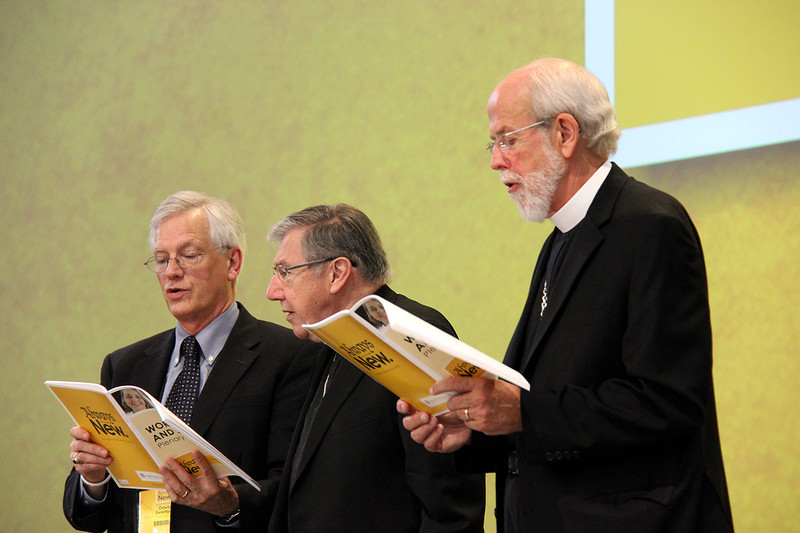 David Swartling, secretary of the ELCA, Bishop Denis Madden, Auxiliary Bishop for the Archdiocese of Baltimore and presiding bishop Mark S. Hanson participate in the afternoon plenary.