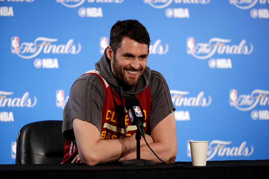 . Cleveland Cavaliers\' Kevin Love smiles as he fields questions before an NBA basketball practice, Wednesday, May 31, 2017, in Oakland, Calif. The Cavaliers face the Golden State Warriors in Game 1 of the NBA Finals on Thursday in Oakland. (AP Photo/Marcio Jose Sanchez)