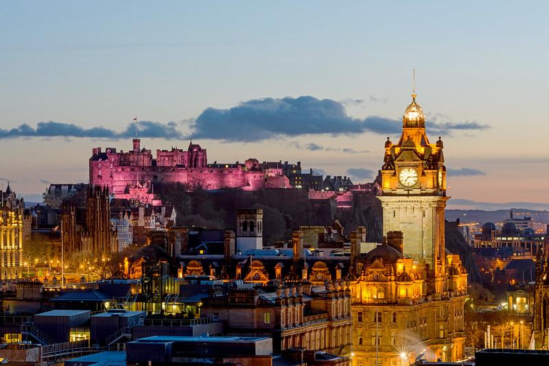 Pink Edinburgh Castle from Calton Hill