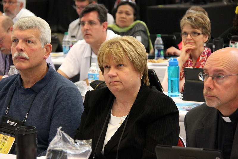 Cheryl Stuart, nominee for secretary, waits for election results.