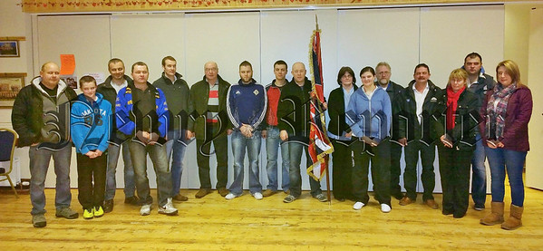 The South Armagh Branch of the Ancre Somme Association pictured with their new Branch Flag at their February meeting