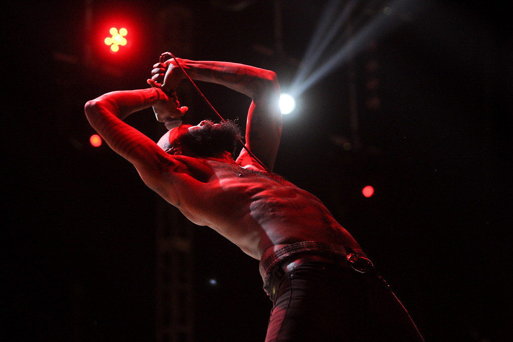 ". Death Grips singer Stefan \""MC Ride\"" Burnett performs at FYF Fest in downtown L.A., Saturday, August 24, 2013. (Michael Owen Baker/L.A. Daily News)"