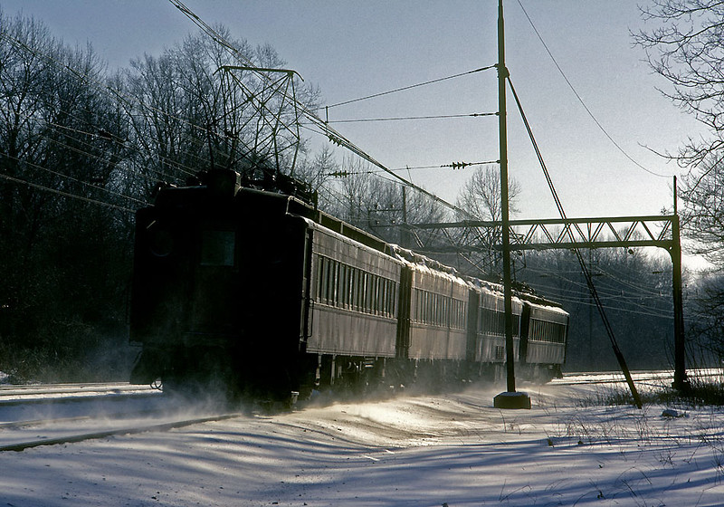 """January 1967.  The four track Philadelphia """"Mainline"""" when it was still Pennsylvania Railroad and tuscan red heavyweight emu's."""