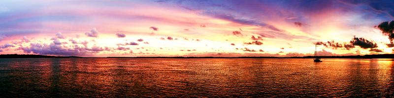 Magnificent bright cloud coastal sunrise Panorama. Australia.