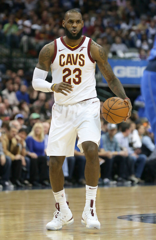 . Cleveland Cavaliers forward LeBron James (23) looks to drive during the first half of an NBA basketball game against the Dallas Mavericks in Dallas, Saturday, Nov. 11, 2017. (AP Photo/LM Otero)
