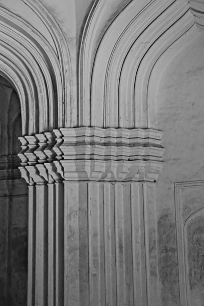 Details of one of the pillars inside one of the Qutb Shahi tombs