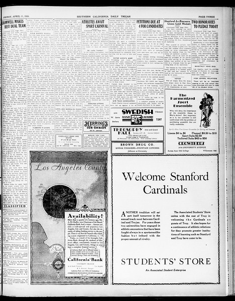 Southern California Daily Trojan, Vol. 21, No. 122, April 11, 1930