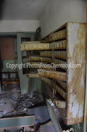 Empty mailboxes in an abandoned apartment building in Pripyat, the town that housed workers from the Chernobyl Nuclear Power Plant, Ukraine.