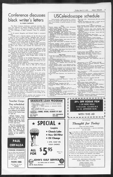 Daily Trojan, Vol. 61, No. 108, April 17, 1970