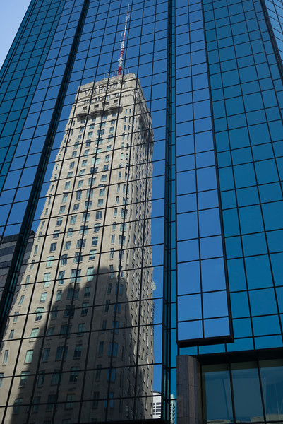Foshay Tower reflecting on IDS Center at Downtown Minneapolis, Hennepin County, Minnesota, USA