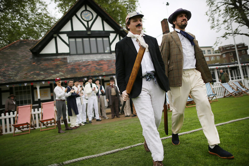 . Batsmen of the Wisden XI and the Authors XI take to the field for a Victorian cricket match at Vincent Square on May 29, 2013 in London, England. The match celebrates the 150th anniversary the Wisden Cricketers� Almanack. The almanack is a cricket reference book published annually in the United Kingdom.  (Photo by Peter Macdiarmid/Getty Images)