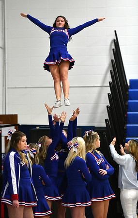 1/15/2020 Mike Orazzi | StaffrSt. Paul Catholic High School Cheerleaders at Wednesday night's boys basketball game with Watertown in Bristol.