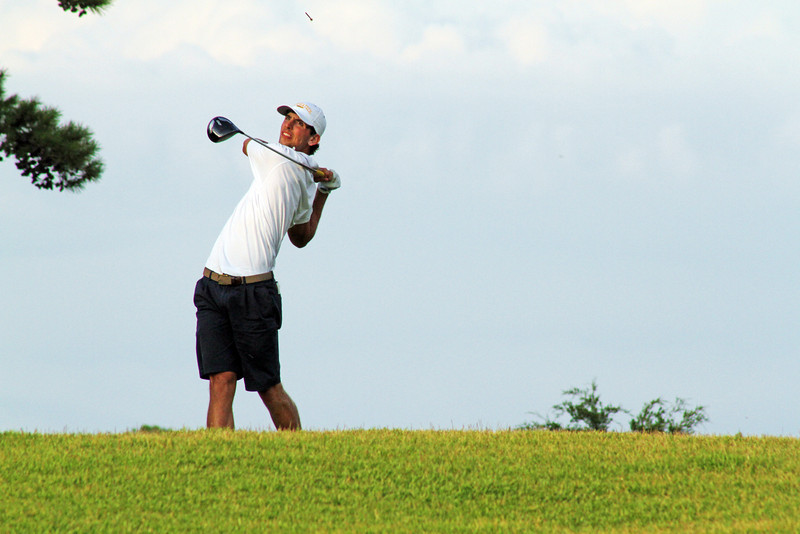 Seth Reeves of Suwanee, GA follows through on a drive during the second round of the 2013 Western Amateur at The Alotian Club in Roland, AR. (WGA Photo/Ian Yelton)