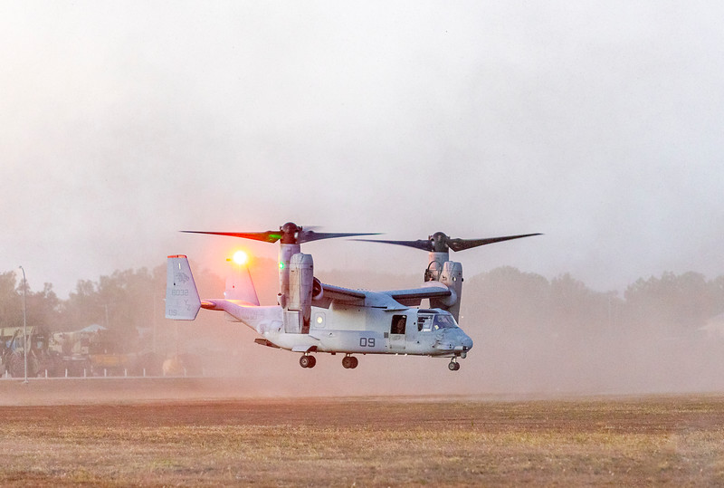 United States Marine Corps Bell Boeing V-22 Osprey's landing at DSU Rockhampton Airport 25-05-2019