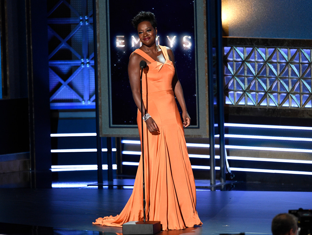 . Viola Davis introduces a performance by Christopher Jackson at the 69th Primetime Emmy Awards on Sunday, Sept. 17, 2017, at the Microsoft Theater in Los Angeles. (Photo by Chris Pizzello/Invision/AP)