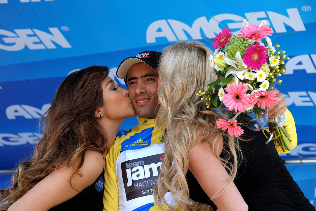 . Javier Alexis Acevedo Calle [Jamis-Hagens Berman] awarded kisses after holding his overall lead in the Amgen Tour of California. (Robert Torre/Special to the Sentinel)