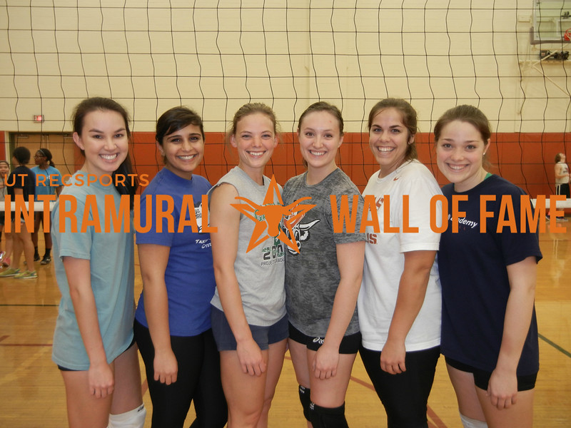 VOLLEYBALL Women's B Runner Up  Freeballers  R1: Jennifer Boling, Shadon Shakouri, Kaci Erwin, Joslyn Buzonas, Hannah Glaeser, Madeline Rodriguez