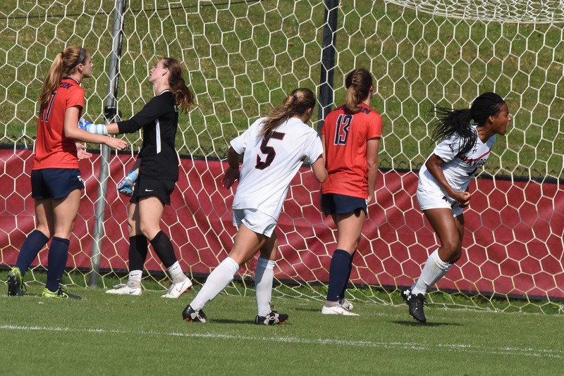Davidson's Michele Manceaux celebrates after scoring a goal against Dayton. Davidson's Cameron France drew the goalie out of position and then passed the ball to Manceaux.