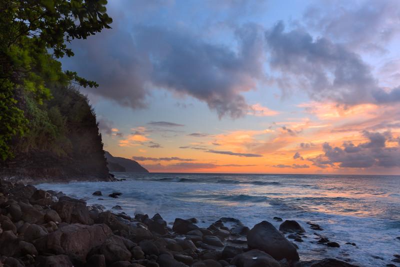 Dusk Sky and Na Pali Cliffs