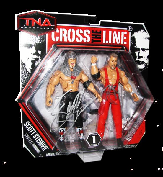 Scott Steiner & Kevin Nash Autographed JAKKS Pacific Series 1 TNA CROSS THE LINE 2 Pack Figures