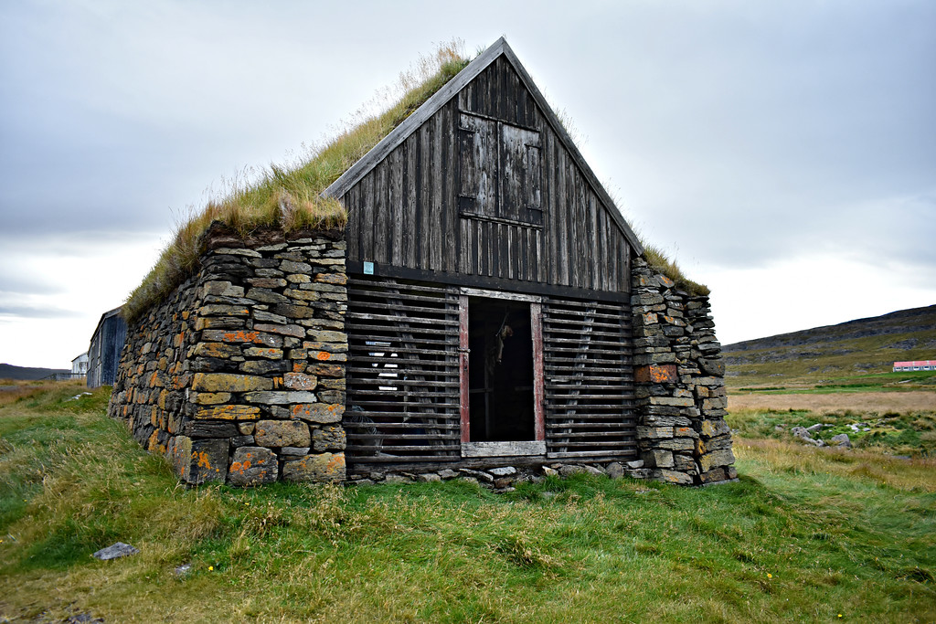 Turf shed at Vatnsfjörður in West Fjords Iceland