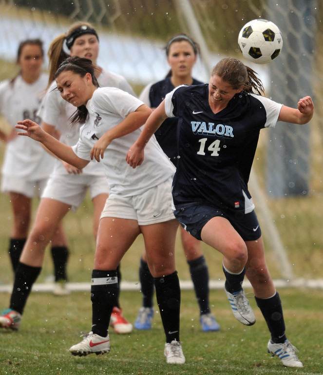 . PARKER, CO. - APRIL 2: The Valor Christian High School girl\'s soccer team defeated Golden 4-1 Wednesday night, April 3, 2013.  Photo By Karl Gehring/The Denver Post)