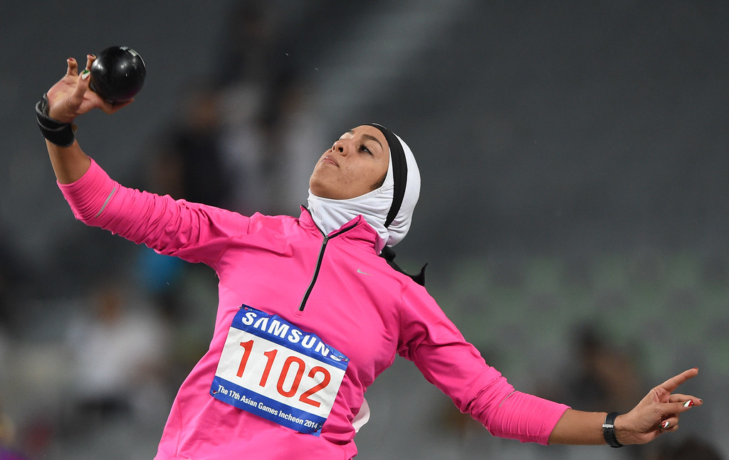 . Iran\'s Sepideh Tavakoly Nik competes in the women\'s heptathlon shot put athletics event during the 17th Asian Games at the Incheon Asiad Main Stadium in Incheon on September 28, 2014.PHILIPPE LOPEZ/AFP/Getty Images