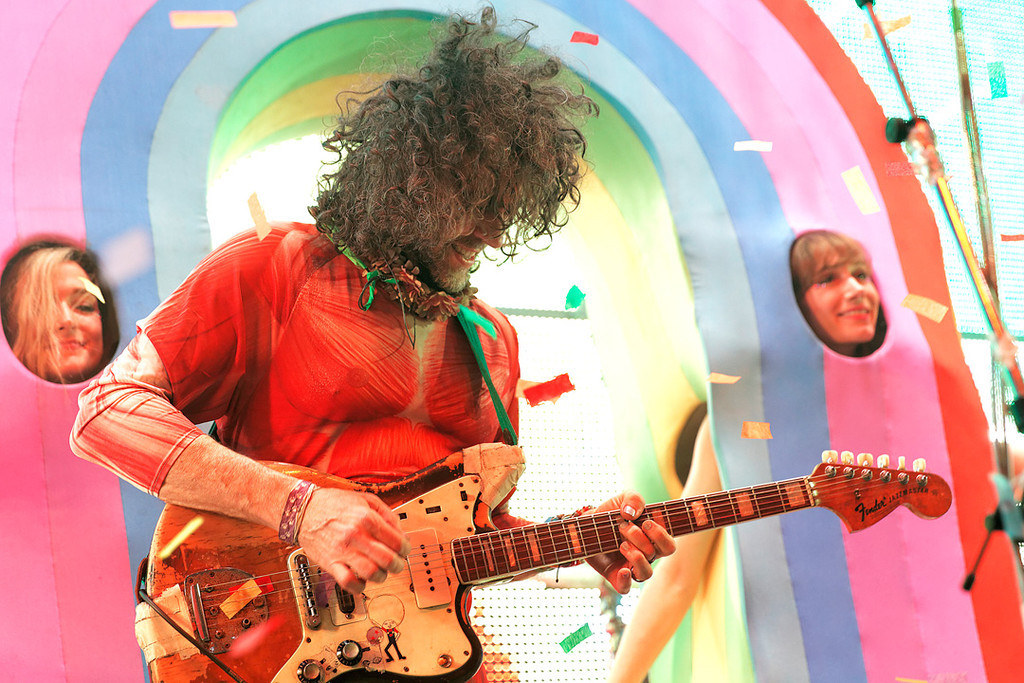. Wayne Coyne of The Flaming Lips at Fillmore Detroit on 6-12-14. Photo by Ken Settle