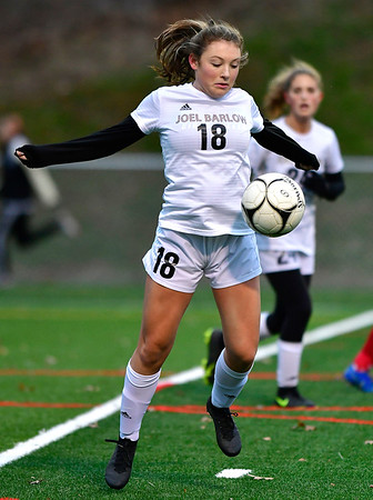 11/12/2019 MIke Orazzi | StaffrJoel Barlow High School's Lucy Witherbee (18) during the Class L First Round Girls Soccer Tournament with Berlin in Sage Park in Berlin.