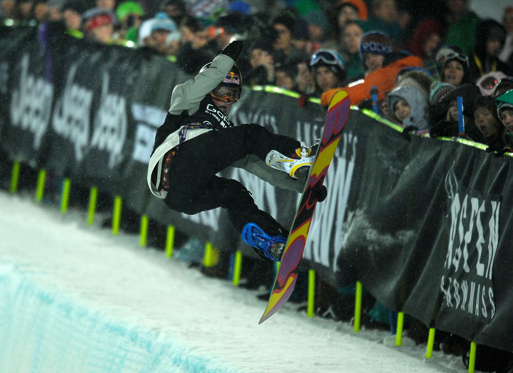 . ASPEN, CO. - JANUARY 26:  Breckenridge, CO resident Arielle Gold during her first run in the Snowboard Super Pipe Women�s Final, January 26, 2013. Gold went on to win Bronze. 2013 Winter X Games at Buttermilk Mountain in Aspen. (Photo By Daniel Petty/ The Denver Post)