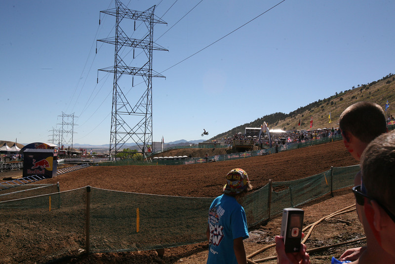Dungey airing it out over the finish line jump