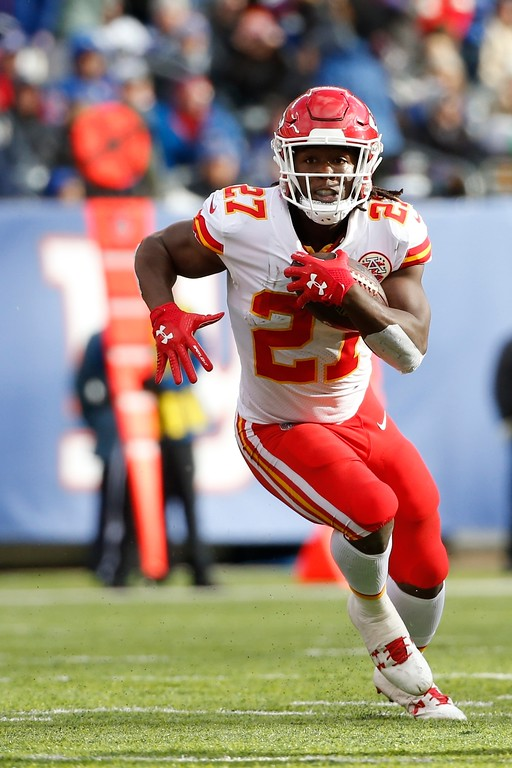 . Kansas City Chiefs running back Kareem Hunt rushes during the first half of an NFL football game against the New York Giants Sunday, Nov. 19, 2017, in East Rutherford, N.J. (AP Photo/Kathy Willens)
