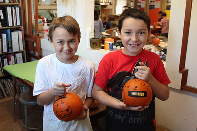LS 4th Art Class - Painting Pumpkins 9-21-18