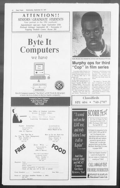 Daily Trojan, Vol. 116, No. 17, September 25, 1991