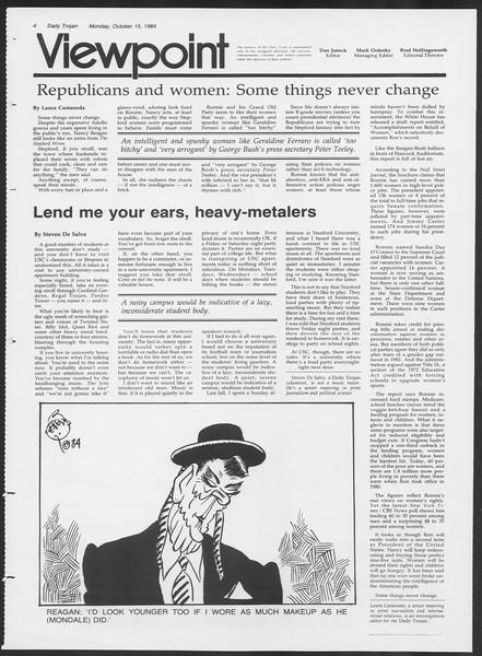 Daily Trojan, Vol. 97, No. 30, October 15, 1984