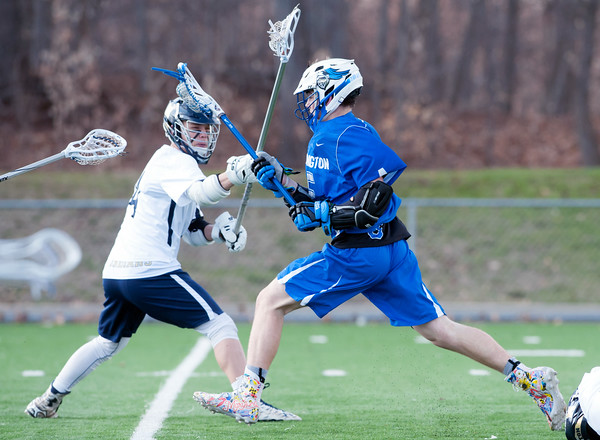 04/10/18 Wesley Bunnell | Staff Southington boys lacrosse defeated Newington 8-5 at Newington on Tuesday afternoon. Matt Thompson (5).