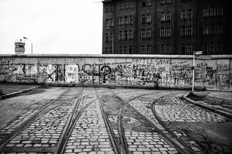 Berlin wall cutting through tram lines Looking towards East Germany 1986